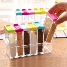 6 Pcs/Set Spice Jar Seasoning Box Kitchen Spice Storage Bottle Jars Transparent PP Salt Pepper Cumin Powder Box Tool Clear