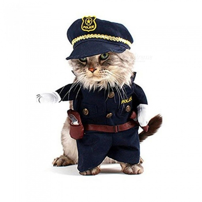 Pet Costume Policeman Style Dog Jeans Clothes Cat Funny Apperal Cute Cat Clothes Cool Style Pet Apparel