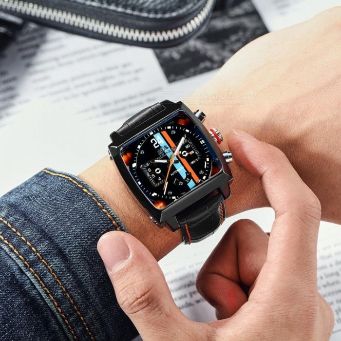Men Automatic Self Wind Mechanical Genuine Leather Stainless Steel Black Orange Blue Casual 40mm Perspective See Through Watch
