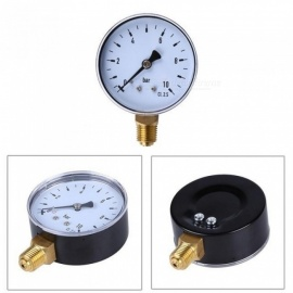 "1/4"" NPT Side Mount 2.3""Face 10 Bar Compressor Compressed Water Oil Air Pressure Gauge >Pressure Measuring Instruments Round"