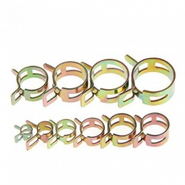 6-22MM Spring Clip Fuel Line Hose Water Pipe Air Tube Clamps Fastener 100 PCS Each Set Metal Material 100pcs