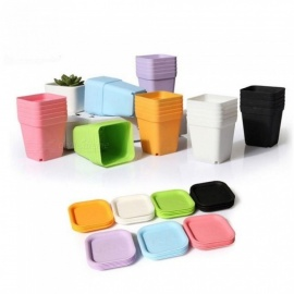 Mini Square Plastic Plant Flower Pot Home Office Decor Planter Colorful With Pots Trays Green Plant Artificial WYD 10 PCS 10 Pots+10 Trays