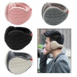 Foldable Unisex Fashion Knitted EarMuffs Winter Warm Plus Velvet EarMuff Women Men Knitted Ear Muffs Adult Knitted Earmuffs Black
