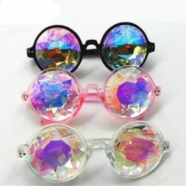Round Kaleidoscope Glasses Women Rave Festival Sunglasses Men Holographic Glasses Colorful Celebrity Party Eyewear Black