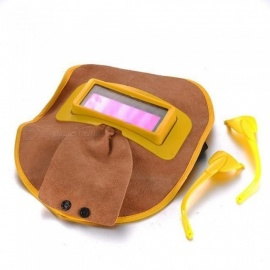 Portable Leather Solar Auto Darkening Filter Lens Hood Welding Helmet Mask Welder Eyes Leather Mask Welder Goggles Yellow