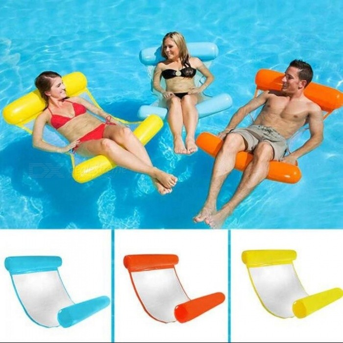PVC Floating Water Hammock Float Lounger Inflatable Floating Bed Lounge Floating Bed Chair Swimming Pool Inflatable Hammock Bed