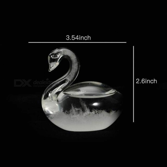 Small Crystal Weather Forecast Bottle Swan Shape Glass Storm Bottle Home Office Decoration Gift-20 Desk Decoration