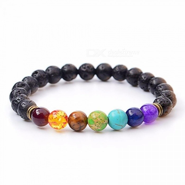 Lava Stone Natural Stone Beads Strand Bracelet for Men Crown Skull Pendant Charms Bracelet Male Jewelry Accessories