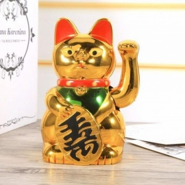 Chinese Lucky Wealth Waving Cat Gold Waving Hand Cat Feng-Shui Lucky Maneki Neko Home Decor Welcome Waving Cat Sculpture Statue  Cat