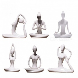 Abstract Art Ceramic Yoga Poses Figurine Porcelain Yoga Lady Statue Different Poses Home Yoga Studio Decor Ornament White