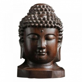 6cm Buddha Statue Wood Wooden Shakyamuni Tathagata Figurine Mahogany India Buddha Head Statue Crafts Decorative Ornament Height 6 Centimeters