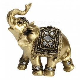 Lucky Feng Shui Elegant Elephant Trunk Statue Lucky Wealth Figurine Crafts Ornaments for Home Office Desktop Decor Gift Gold