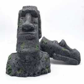 Abstract Aquarium Decoration Easter Island Statue Accessories For Aquarium Fish Tank Landscaping Ornament Aquarium Decor 12.9x5.5cm/Gray