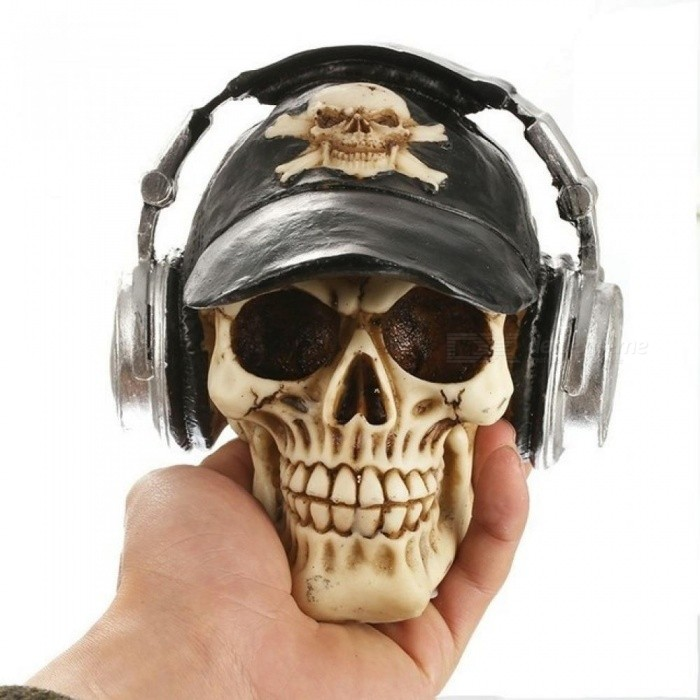 Resin Craft Statues For Decoration Skull With Headphone Creative Skull Figurines Sculpture Home Decoration Accessories