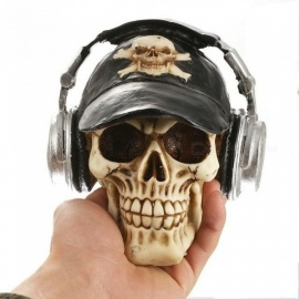 Resin Craft Statues For Decoration Skull With Headphone Creative Skull Figurines Sculpture Home Decoration Accessories Skull
