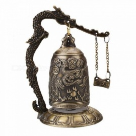 Home Decoration China Buddhism Brass Copper Carved Statue Lotus Buddha Dragon Bell Clock Bronze Buddhist Bells Artware 1pcs