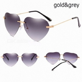 Heart Shaped Sunglasses Women Metal Frame Reflective Lens Protection Sunglasses Men/women Mirror De Sol Fashion Novel Eyeglasses gold grey
