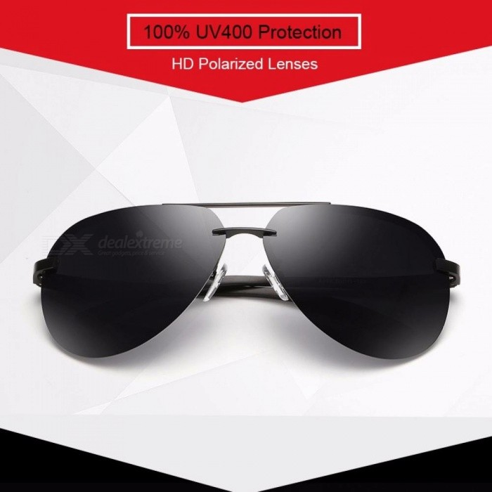 adb1ff639d10 HAPIGOO Classic Men s Aluminum Magnesium Rimless Pilot Polarized Sunglasses  Men Women Driving Mirror Eyewear Sun Glasses