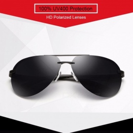 HAPIGOO Classic Men's Aluminum Magnesium Rimless Pilot Polarized Sunglasses Men Women Driving Mirror Eyewear Sun Glasses For Men black black