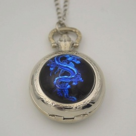 Fiery Blue Dragon Quartz Pocket Watch Necklace Woman Lady Black Silver Bronze Fob Watches Fire Family Crest The Game of Thrones Black