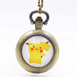 Pikachu Genius Pokemon Go Bronze/Black/Silver Quartz Pocket Watch Pendant Necklace Men Watch Women Watch Chain Girls Boys Gift Black watch