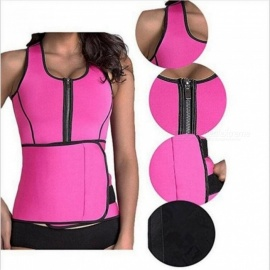Neoprene Sauna Suit Tank Top Vest Waist Trimmer with Adjustable Waist Trainer Belt Slim Waist Super Quality For Lost Weight S/Black