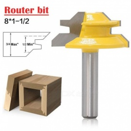 Woodworker Lock Miter Router Bit 45 Degree Width 8*1-1/2 Woodworking Drill Bit 8mm Shank Tenon Cutter Woodwork Milling Cutters Yellow