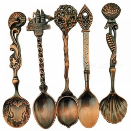 5PCS/Set Vintage Royal Style Bronze Carved Small Coffee Tools Tableware Cutlery Kitchen Dining Bar Tools Gold