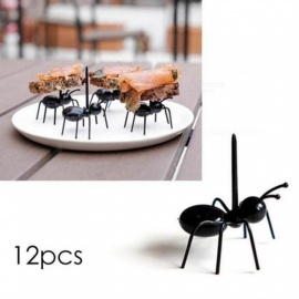 Cute Mini Ant Fruit Fork Plastic Snack Cake Dessert Forks Ant Toothpick Reusable Multiple Use Tableware For Home Party 12PCS/Set Black