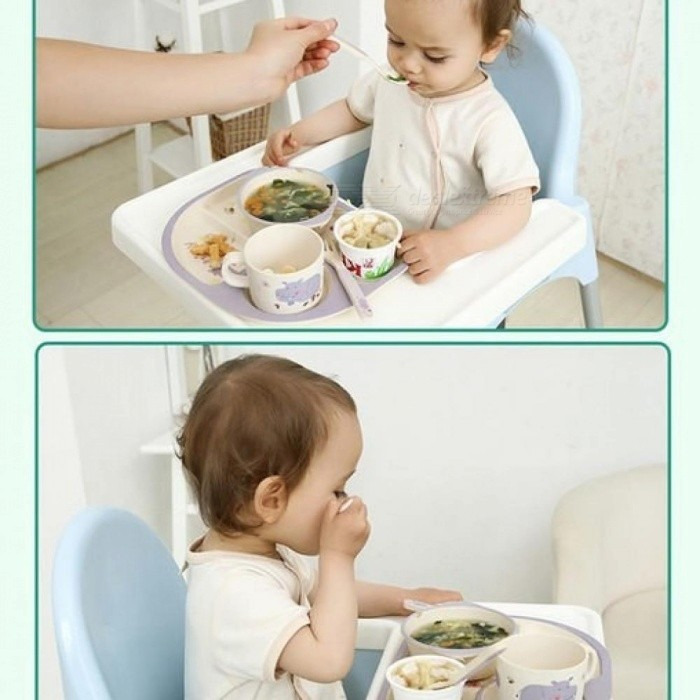 Bamboo Fiber Children Tableware Set Baby Dinnerware Plate Dishes Bowl With Spoon Dinnerware Feeding Set Food Container 5 PCS/Set