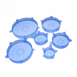 Silicone Suction Lid-bowl Pan-Pot Anti-spill Leaky Lid Stretch Sealed Fresh Cover Pan Lid Stopper Vacuum Cover 6PCS/Set Blue