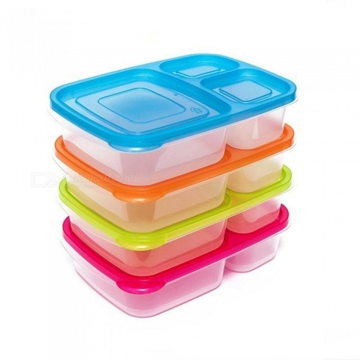 ... Plastic Bento Lunch Box Microwave Food Storage Containers with Compartments Portable Kids School office Lunch Box ...