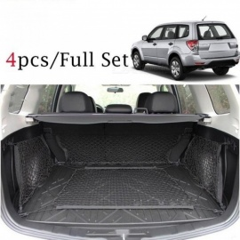 Envelope+Floor +2 Sides Trunk Cargo Net Mesh Hooks Luggage Storage For Subaru Forester 2009 2010 2011 2012 2013-2017 4PCS/Set  4pcs/Set