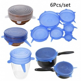 Various Useful Silicone Stretch Preserve Pot Bowl Lid for Fridge Microwave Oven Food Saver Reusable Containers Cover 6PCS/Set  White
