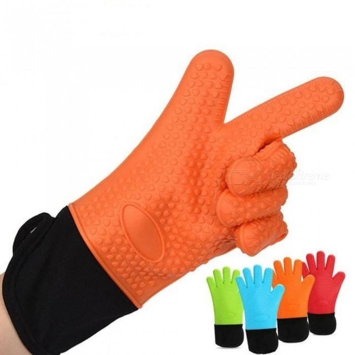 1PC Long Length Silicone Glove For Oven Heat Resistant Oven Gloves Cotton Mitt Silicone Basking Gloves For Microwave Kitchen Too