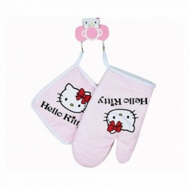 Hello kitty Kitchen Cooking Microwave Oven Insulation Gloves Insulation Pads Cotton Thickening Non-slip Gloves Pink
