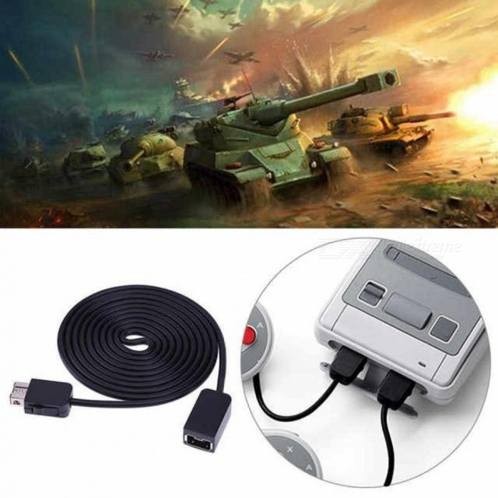 1.8M/5.9ft Extension Cable Nintendo SNES Classic Mini Console For NES Wii Controller Game Cables Black Color