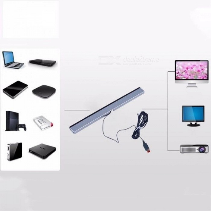 Infrared IR Signal Ray Sensor Bar/Receiver Wired Game Consoles Accessories For Nintendo Wii Remote Gray+Silver Color