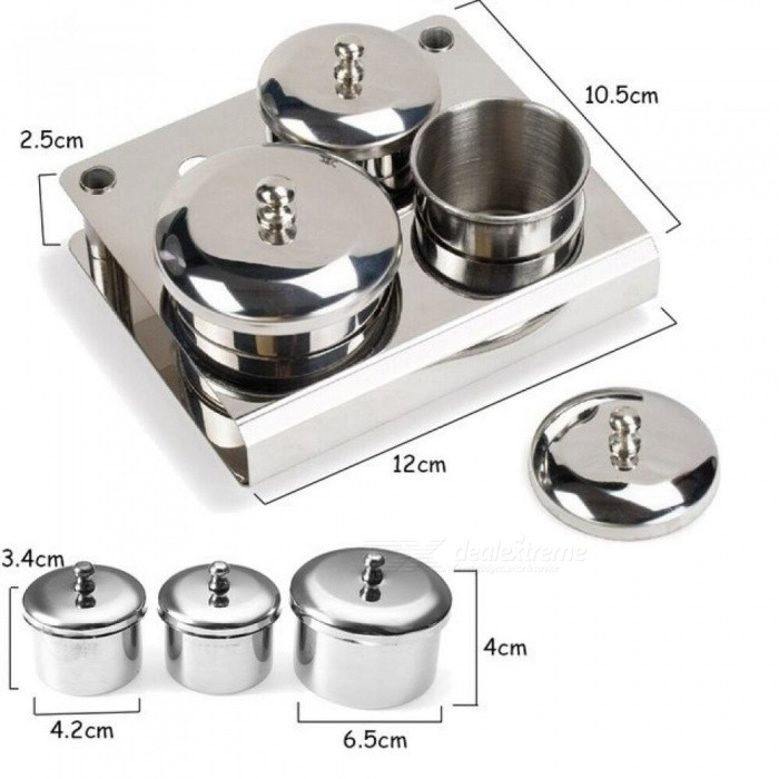Mini Stainless Steel Acrylic Nail Tips Cup Dappen Dish Liquid Powder Holder Container Professional Nail Art Equipment Tools 3PCS