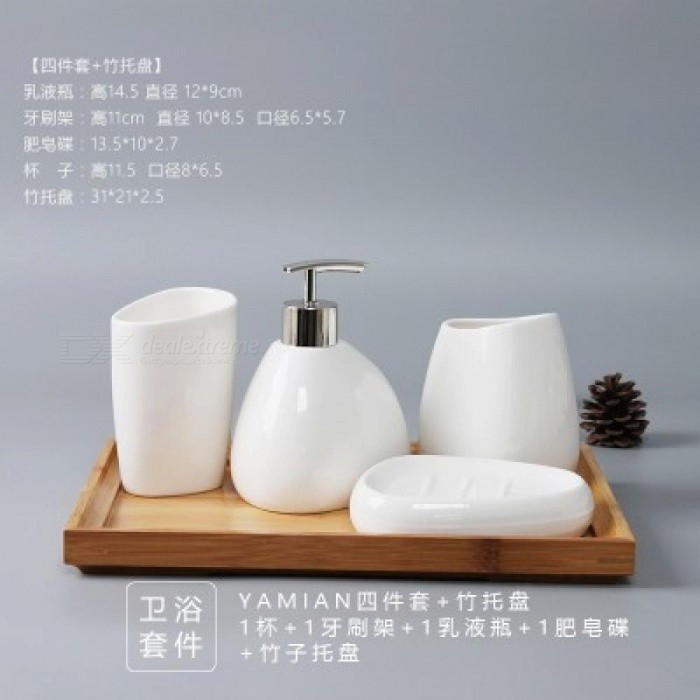 China Six Piece Set Ceramics Bathroom Accessories Soap Dispenser Toothbrush Holder Tumbler Dish Products Worldwide Free
