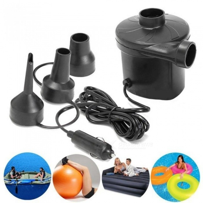 DC 12V Portable Electric Air Pump Air Bed Mattress Boat Car Auto Air Inflatable Pump For Camping Inflator with 3 Nozzles