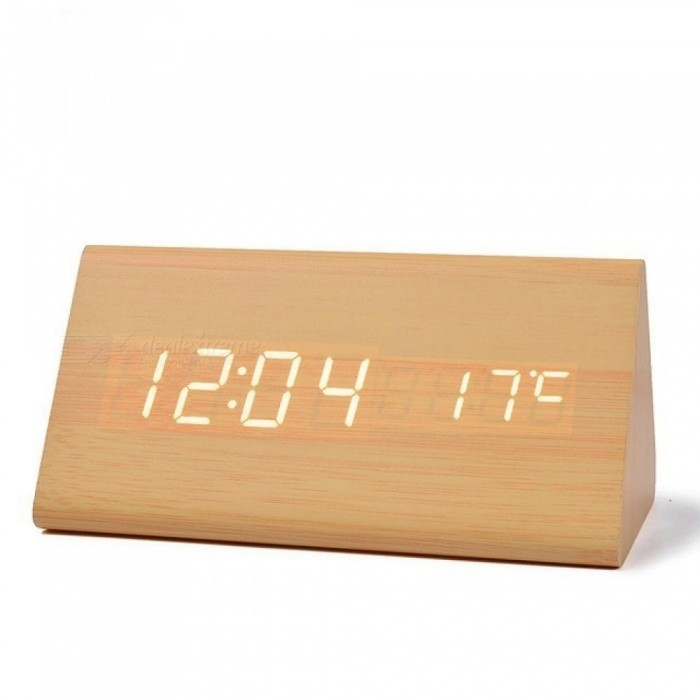 Wood LED Desk & Table Clocks with Thermometer,Wooden Alarm Clock For Gift,Sounds Control Digital Clock