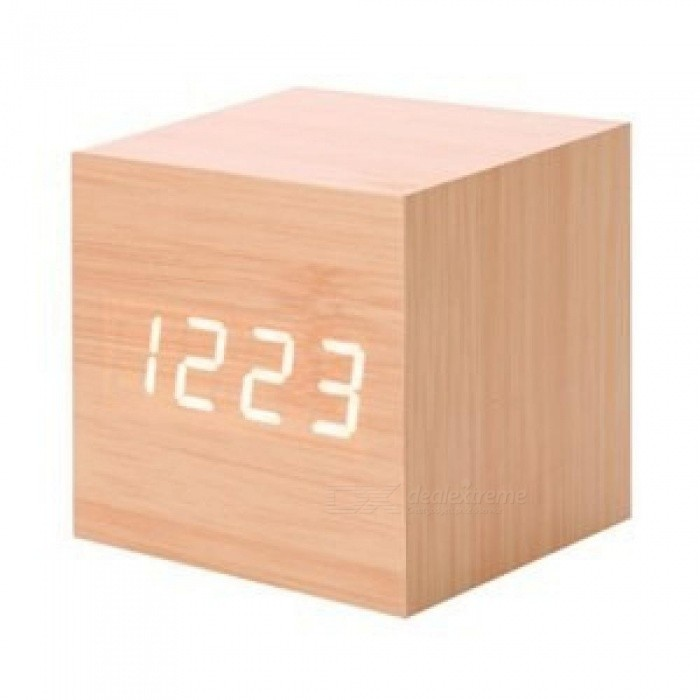 Alarm Clock Projector Modern Wooden Digital Led Desk With Thermometer Timer Calendar 30 As Gift Wood Color