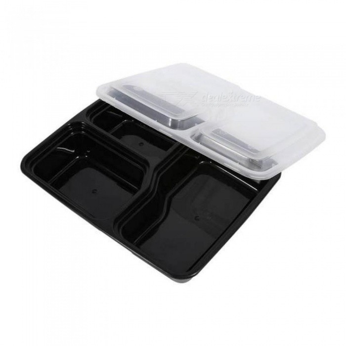 Plastic Bento Box Meal Storage Food Prep Lunch Box 3 Compartment Reusable Microwavable Containers Home Lunchbox 10 PCS