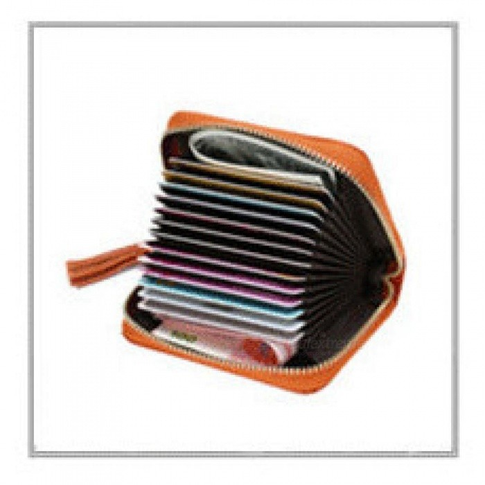 Men And Women Genuine Leather Unisex Business Card Holder Wallet