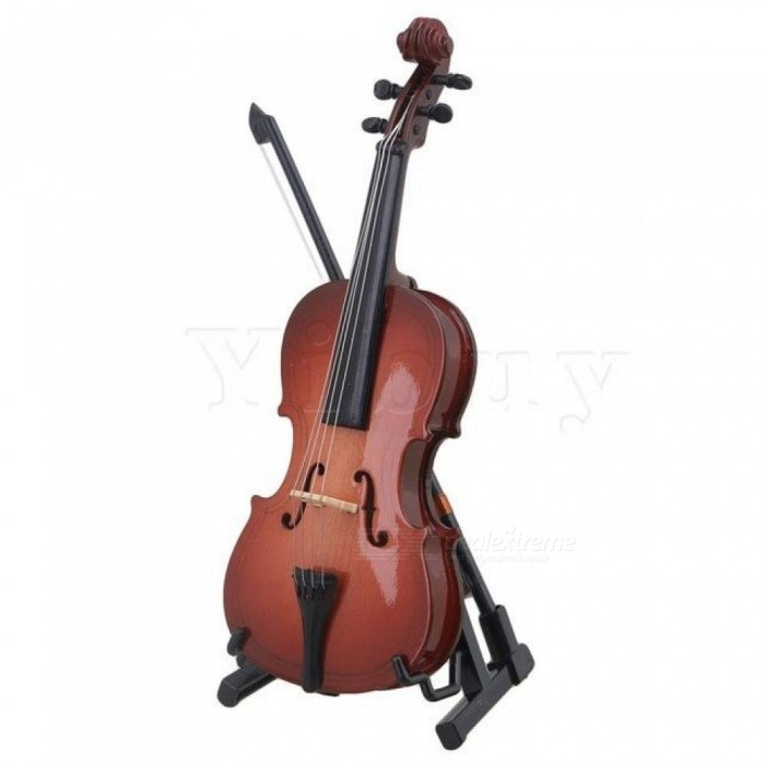 Multicolor Resin 12CM Mini Cello Model with Stand Musical Instrument Replica Ornaments Christmas Gift Home Decoration