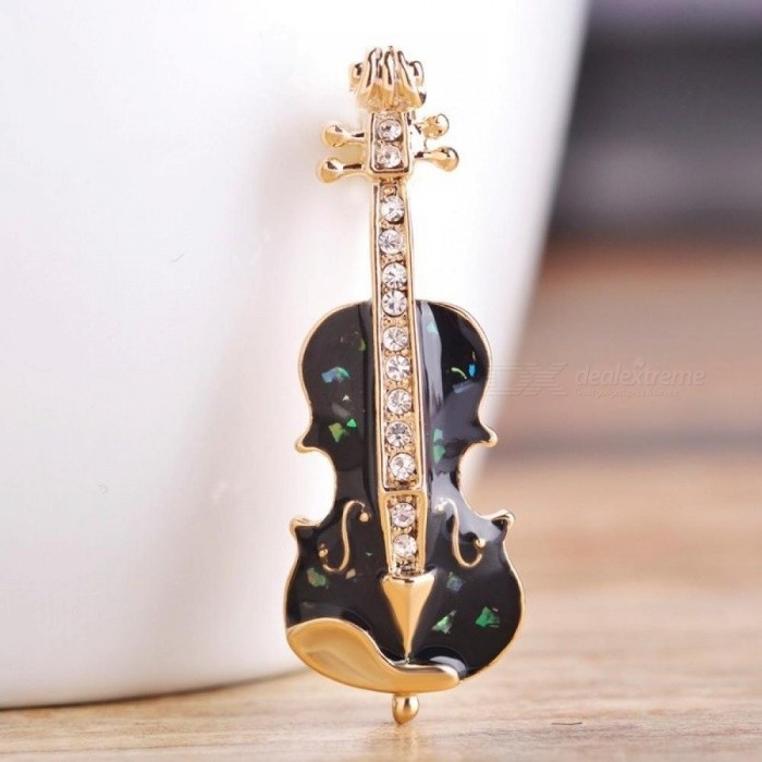 Cello Guitar Shaped Brooches Enamel Abalone Shell Apparel Accessory Musical Instruments Lapel Pin Club Badge Brooch Joyeria