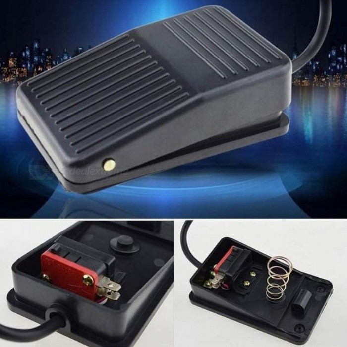 Black Momentary Type Switch Pedal Anti Slip Power Foot Pedal Switch For Table Routers Scroll Saws Drill Presses Lathe