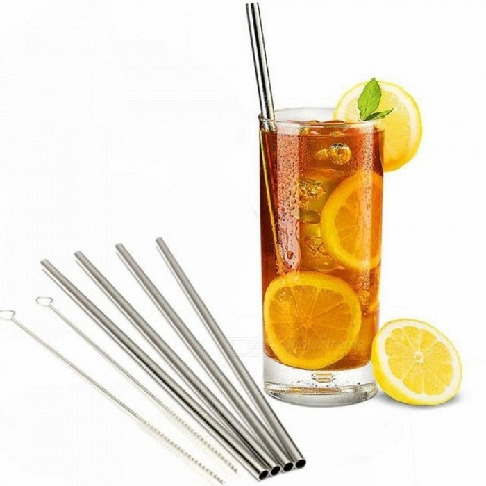 4 Stainless Steel Material Drinking Straws+Cleaner Brush Reusable Unfolded Metal Kitchen With Silver Color