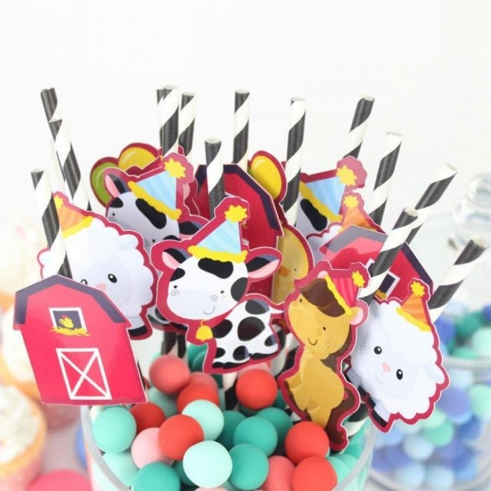 Farm Animals Straw 25 PCS Paper Straws Birthday Party Festive Supplies Decoration Paper Drinking Straws Holiday Straws